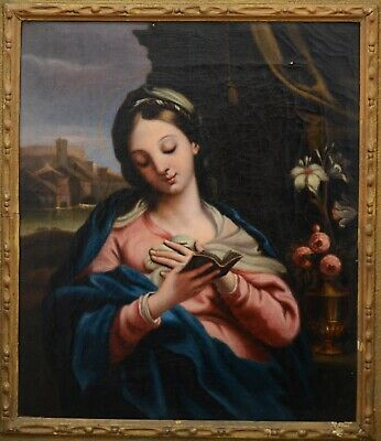Fine Antique Early 20th Century Religious Oil On Canvas Painting MARATTA