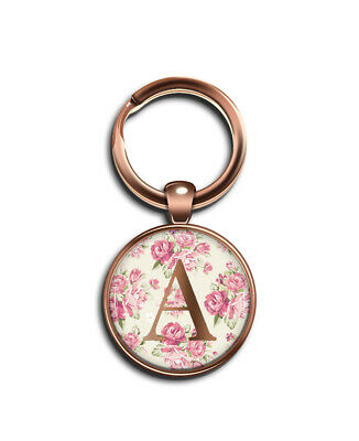 INITIAL Rose Floral Rose Gold Letter A-Z Small Button Badge 25 mm Ø KEYRING Gift