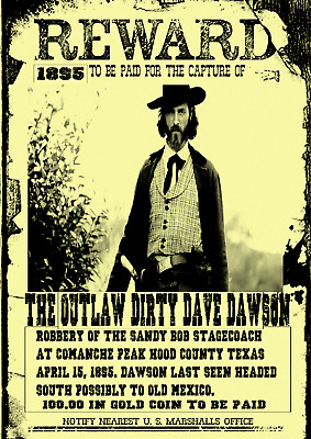 Old West Wanted Poster Western Outlaw Reward Stagecoach Robbery Gunslinger