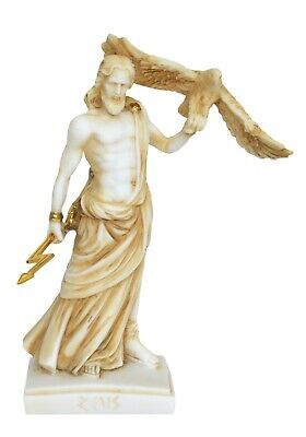 Zeus Alabaster aged Statue Olympians King of All Gods - Ruler of Sky and Thunder