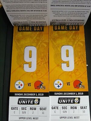 2 Pittsburgh Steelers Vs Cleveland Browns Nfl Tickets 12/01/2019 Heinz Field