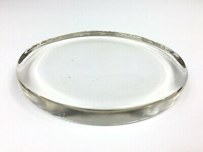 """Flat Bottom Clear Glass Paperweight  6 1/4"""" x 5"""" x 3/4"""" Heavy Preowned Vintage"""