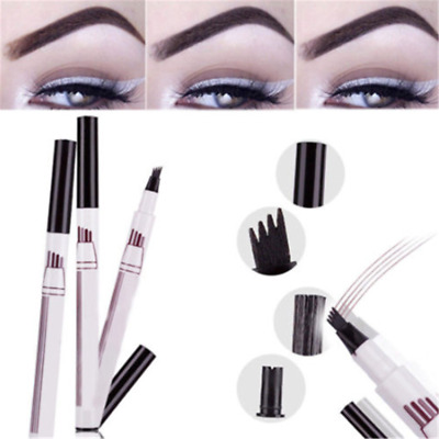 4 Head Eyebrow Pencil Fork Tattoo Pen Fine Sketch Tint Enhancer Cosmetic Tools