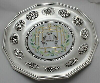 Gorham 649 Sterling Silver Two Turtle Doves of Peace Plate