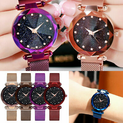 Women Watch Starry Sky Wrist Watch Men Bracelet Watches Magnetic Stainless NEW