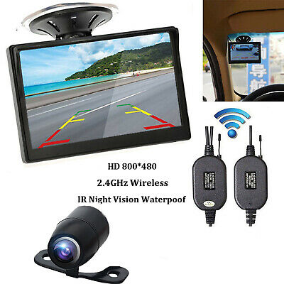 """5"""" TFT LCD Car Reverse Stand Monitor wireless Backup System Rearview Camera 12V"""