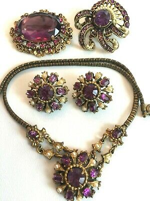 ALL SIGNED Huge Vtg Lot Hollycraft Kramer Early Coro PURPLE Brooches Demi-Parure