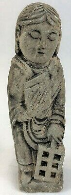 Ancient Vintage Carved Stone Figure Religious Holding Book Bible