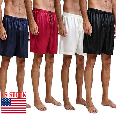Mens Silk Satin Pajamas Shorts Pants Sleep Bottoms Nightwear Sleepwear Trousers