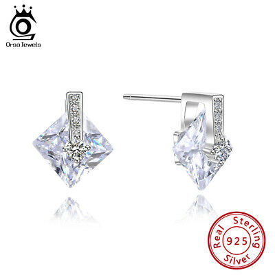 Fashion Big Square Cubic Zirconia Stud Earrings S925 Silver Women Jewelry Gift