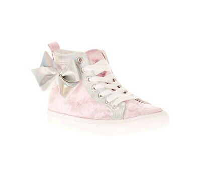 Girls Jojo Siwa Pink Crushed Velvet High Top sz 4  *Fits Like 3*