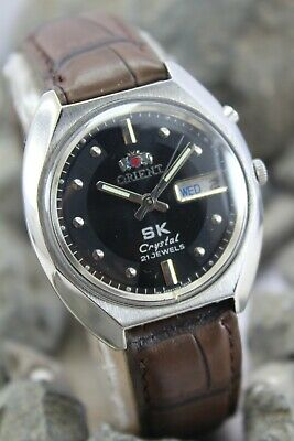 Vintage Orient 46941 Automatic Wrist Watch. Beautiful Black Dial. S/S Round Case