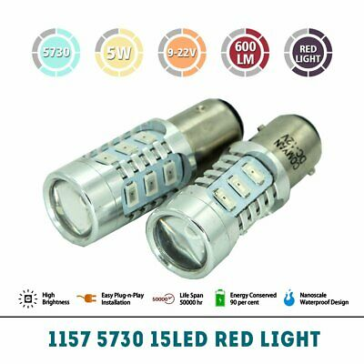 2X BAY15D SAMSUNG 15 LEDs 1157 DUAL CANBUS BRAKE STOP TAIL LIGHT BULB GLOBES RED