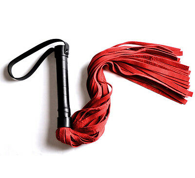 RED DELUXE Handcrafted Mercy Industries leather flogger whip wh2Blu