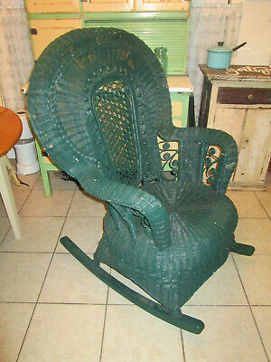 Antique Heywood Wakefield ? Green Rocking Chair Wicker Rattan Victorian