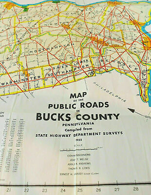 Vintage 1955 Map Bucks County Pennsylvania With Census Date 1940-1958 Original
