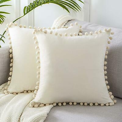 Solid 45x45cm Luxury Pom-poms Soft Particle Velvet Cushion Cover Without Filling