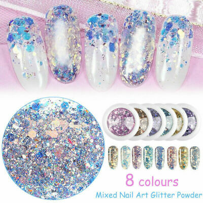 Mixed Nail Art Glitter Powder 3D Sequins Broken Flakes Charms Dust Flakes Decors