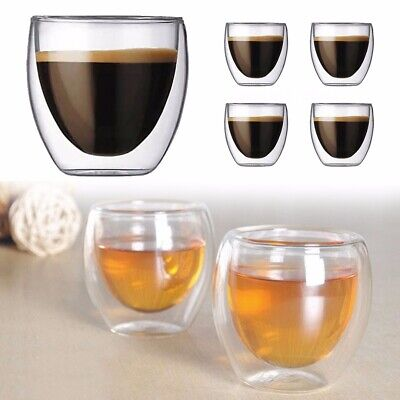 6Pcs 80ml double paroi transparent Café Verre Mug Tasses isoler Home Tea Mug
