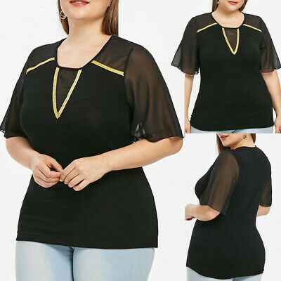 Fashion Women Plus Size Tops Solid O-Neck Short Sleeve Lace Up Blouse TeeCA
