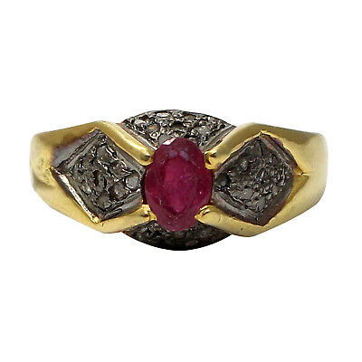 925 Sterling Silver Rose cut Diamond Red Ruby Handmade Victorian Ring R-42
