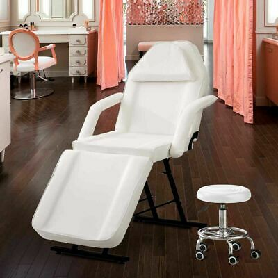 White Massage Table - Beauty Salon Treatment Tattoo Couch Bed Chair Black Stool