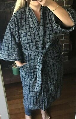 Givenchy Vintage Robe Dressing Gown Heavy Winter Thick Navy VTG Rare Belt Jacket