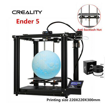 Newest Creality Ender 5 3D Printer 220X220X300mm DC 24V+ 2kg PLA (Black + White)