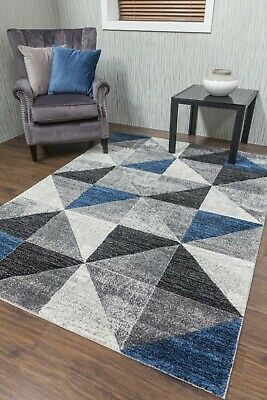 Modern Rugs Mats Grey Blue Ex Large Small Triangle Clearance Thick Big Carpet