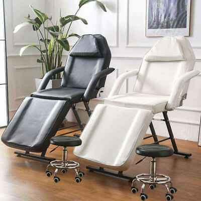 Reclining Massage Table - Beauty Salon Tattoo Therapy Couch Bed Chair with Stool