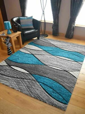Modern Rugs Mats Grey Teal Blue Ex Large Small Wave Design Carved Clearance UK