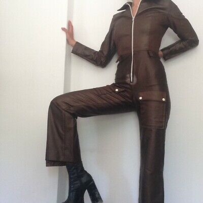 Vintage Flare Jumpsuit Brown 10 Zip Up Disco