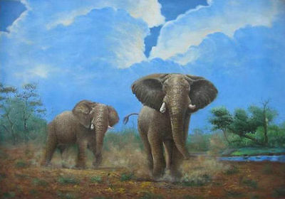 ZWPT106 high quality 100/% hand-painted elephant animal oil painting art Canvas