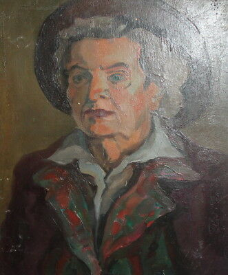 Vintage impressionist old woman portrait oil painting