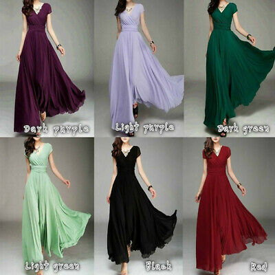Women Ball Gown Chiffon Prom Bridesmaid Robe Long Formal Evening Cocktail Dress