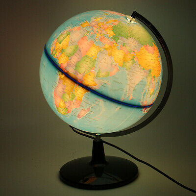 32CM World Earth Globe Map Geography Education Toy Rotating Stand LED Desk Lamp