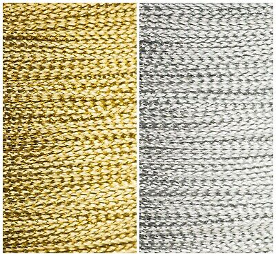 1mm Cord Ribbon. Metallic Silver Gold Wire Full Reel/Cut Length Christmas Crafts