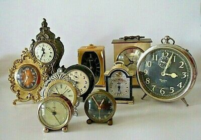 10 old Shelf clocks, Alarm clocks, as found for parts or repair