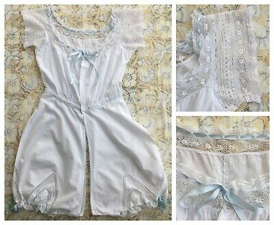 AMAZING VTG Camiknickers Step-in Victorian Undergarment Bloomers | Cotton + Lace