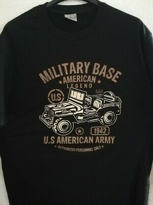 T  SHIRT noir US MILITARY BASE AMERICAN LEGEND 1942 JEEP  tailles S à XXL tee