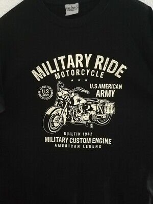 T  SHIRT noir US MILITARY RIDE AMERICAN LEGEND 1942 HARLEY tailles S à XXL tee
