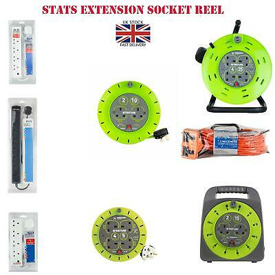 2/4/6 Way Extension Lead Cable Reel 2/5/10/15/18/20/25/ 50Meter Sockets