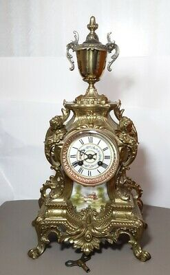 Antique French Ormolu and Sevres Porcelain Clock by Marti. Cherubs. Key