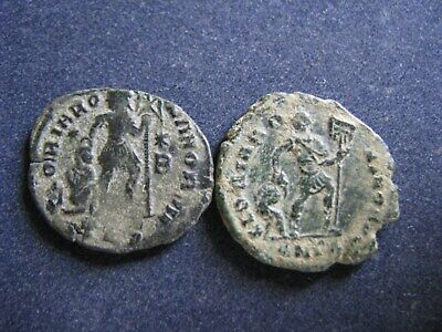 2 Genuine Ancient Roman Bronze Coins,Emperor With Captive Rev, Some Great Detail