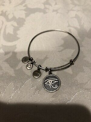 """alex & Ani"" Eye Of Horus Russian Silver Adjustable Bangle Bracelet,rare/retired"