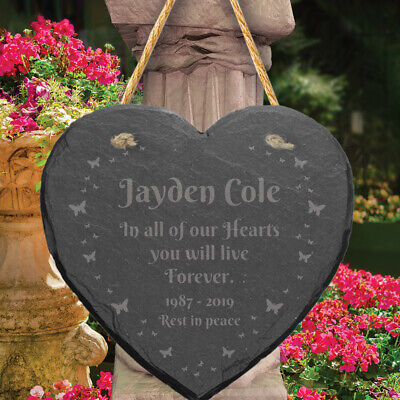 Personalised Slate Stone Heart Engraved Memorial Plaque Grave Marker Keepsake