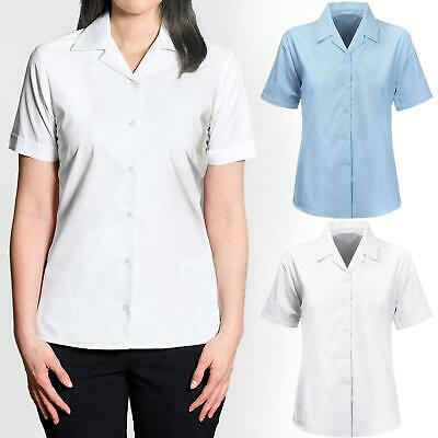 Girls Ladies Revere Collar Short Sleeve Fitted Blouse School Uniform Office 8-18