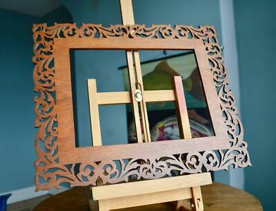 """Superb Antique Carved Ornate Picture Frame 11"""" X 8"""" Rebate French Fretwork Wood"""