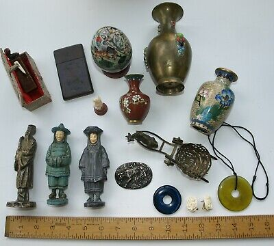 Chinese Japanese antique curio cabinet estate lot
