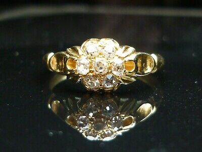 Stunning Victorian 18ct gold Old Cut diamond cluster ring. INVESTMENT